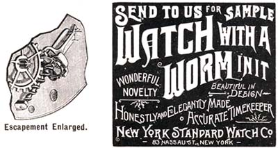 Early New York Standard Watch Ad for Worm-gear Escapement