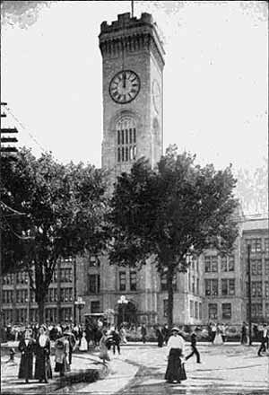 The clock tower at the Elgin National Watch Company