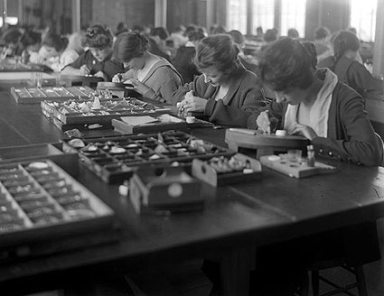 Workers at one of Ingersoll's watch factories