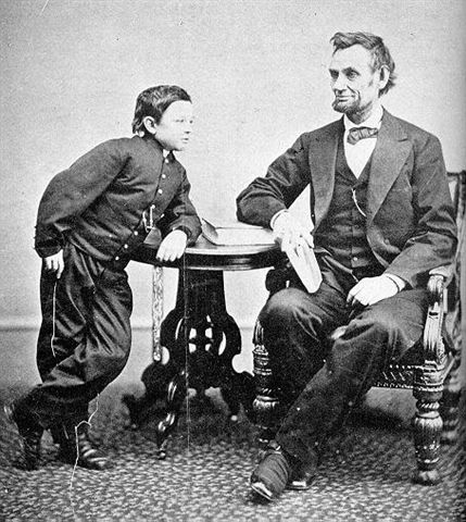 Abraham and Tad Lincoln, four days before Lincoln was shot