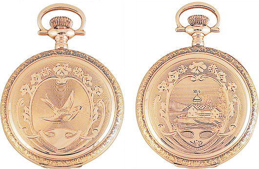 "Waltham ""Roy"" case in 14K gold: beautiful example of finely-crafted  American pocket watch case. Many of the engravers had been trained in Europe, so it is not uncommon to see pastoral scenes of Swiss chalets on American cases, as above."