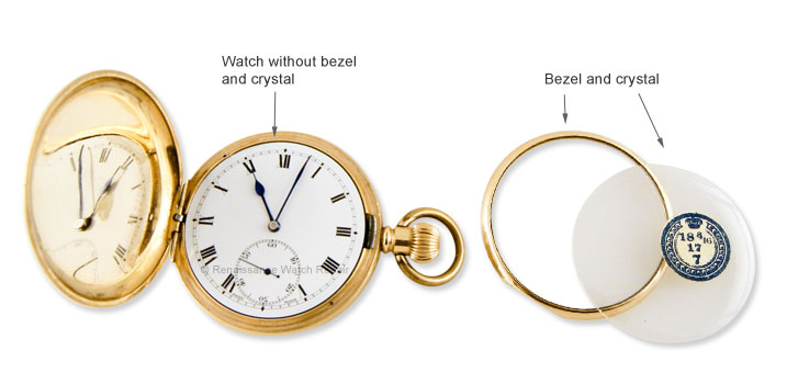 Left: Watch with bezel removed. If your watch looks like this, your bezel is mising. Right:  Bezel and new old-stock crystal