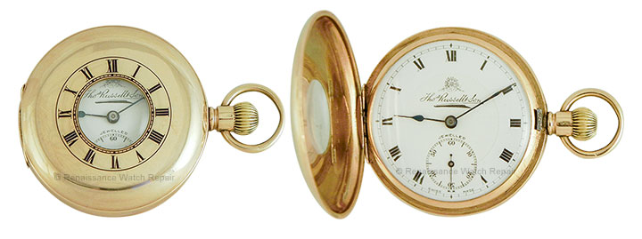 Swiss demi-hunter case with inlaid enamel dial in the case-lid, by Thos. Russell