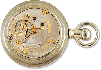 Hamilton  927. Gold screws, gold regulator, inlaid gold jewel settings and gold lettering give this 18-size movement great visual appeal. Circa 1907.