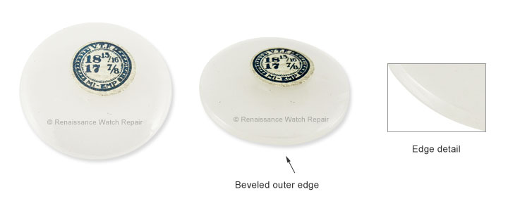 Beveled edge crystal for open face pocketwatch