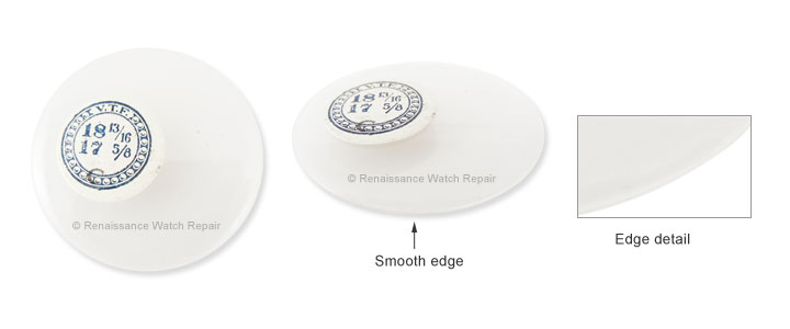 Smooth edge crystal for open face pocketwatch