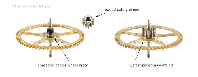 The Safety Pinion, disassembled and assembled for comparison.