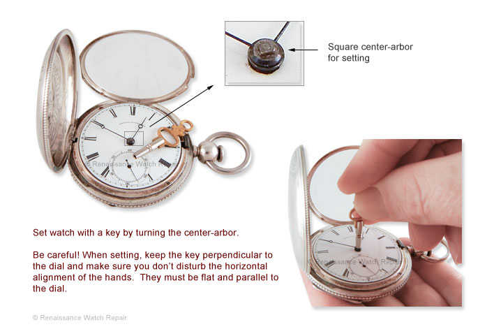 Illustration of setting a Waltham P. S. Bartlett key-set watch in coin-silver case