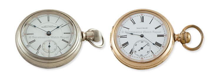 Two examples of American Waltham side-winder pocket watches