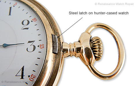 Steel latch on hunter-cased watch