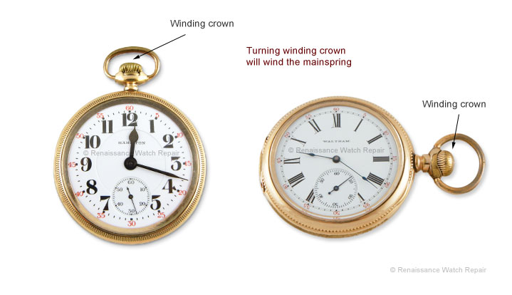 Left: Hamilton stem-wind watch; Right: Waltham 'side-winder' stem-wind watch